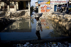 Man Crossing a Sinkhole in Port au Prince - United Nations Photo