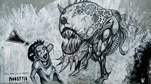 Graffiti Monster Eating Human - Foto di Epsos.de